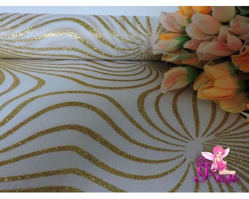 Фетр «Узор с блестками» 48 см, золото (цена за 1 м)