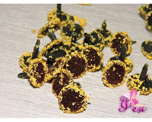 Серединки для цветов, d-1.5 см, цв. коричневый с желтым напылением (1 шт)