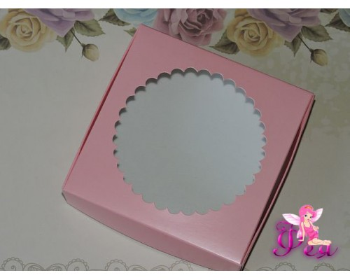 Крафт-каробка розового цвета  (11,5*11,5*3см) -1 шт