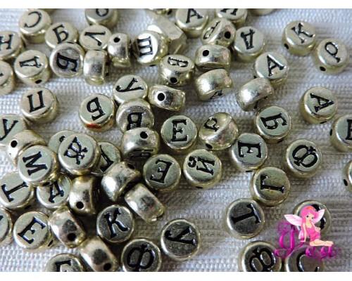 """Бусинки круглые 7*4 мм """"Буквы"""", золотистые"""