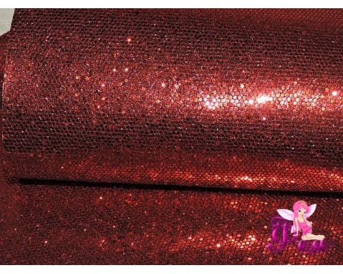 """Искусственная кожа """"Сетка-зеркальные блестки"""" 0.5 мм, цв.  красный"""