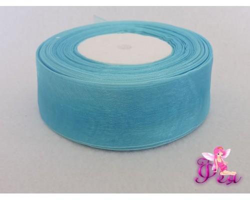 Лента органза 40 мм, голубой