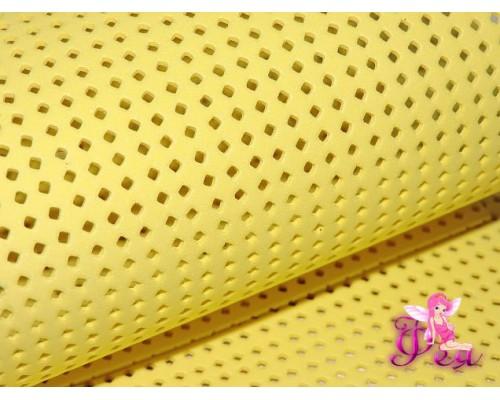 Фоамиран декоративный 2 мм (20*30 см), в дырочки-ромбики, цв. желтый-1 лист.