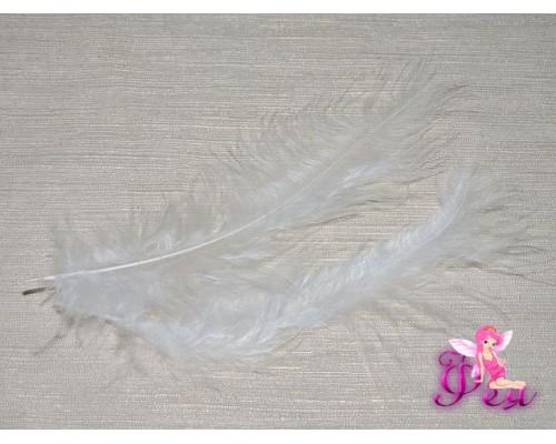 Перо декоративное 13,5см, цв. белый - 1шт