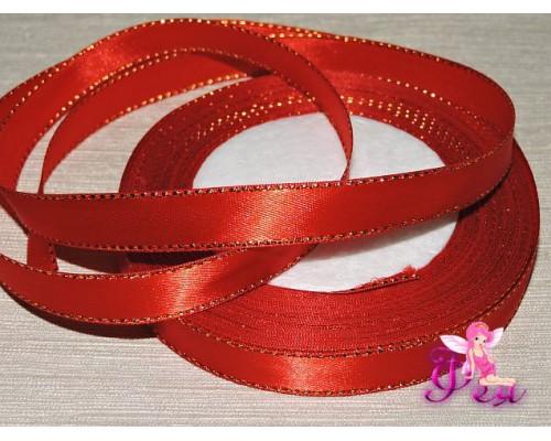 Атласная лента 12 мм,  с  золотым люрексом, красного цвета.