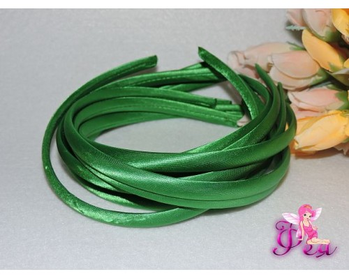 Ободок пластиковый в ткани 1 см, цв. зеленый