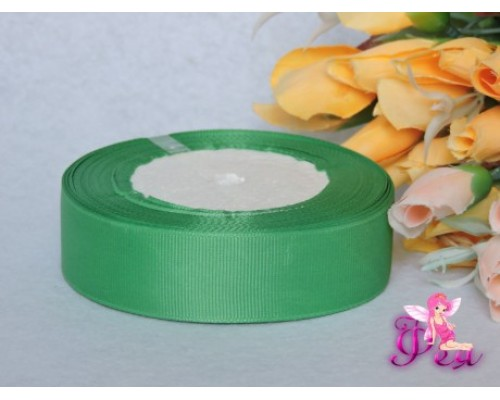 Однотонные репсовые ленты 25 мм, зеленого цвета -1 м