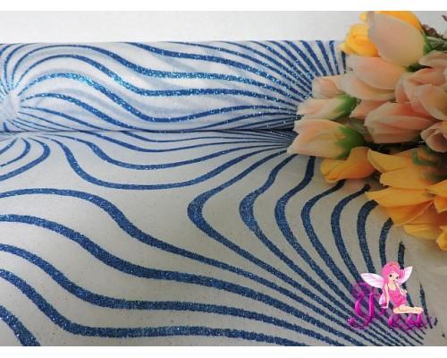 Фетр «Узор с блестками» 48 см, синий (цена 1 м)