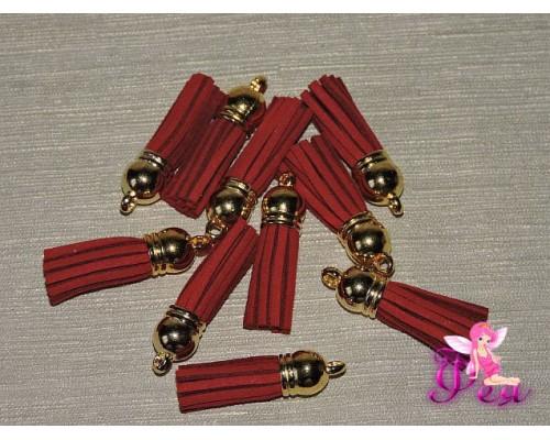 Декоративная кисточка замшевая 3,8 см, бордовый -1 шт