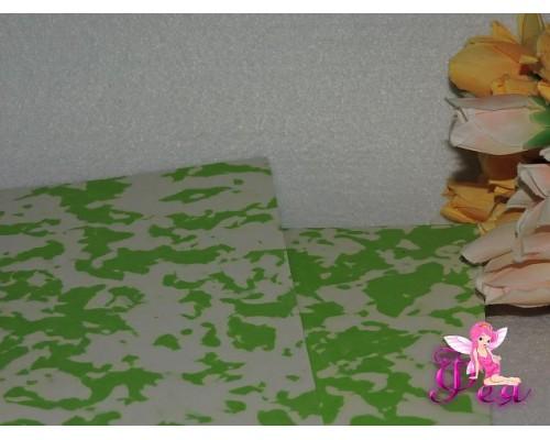 Фоамиран 2 мм, А 4 «Мраморный», цв. бело-зеленый