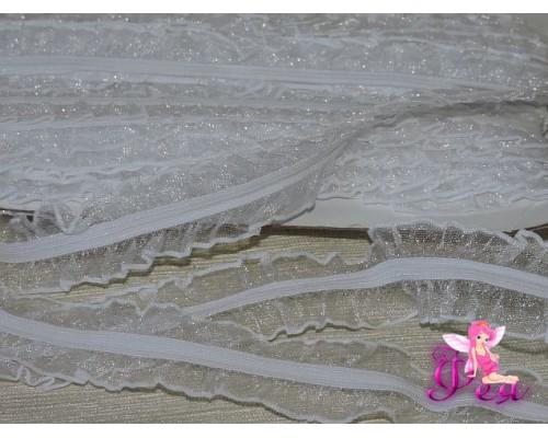 Тесьма с резинкой 25 мм, белый - 1м