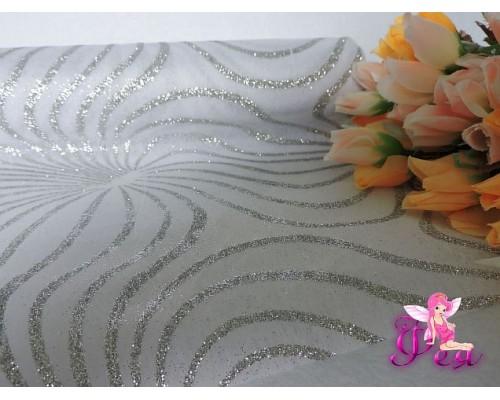Фетр «Узор с блестками» 48 см,серебро ( цена за 1м)