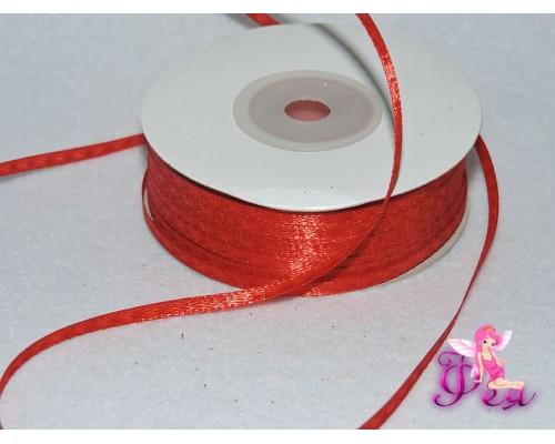 Лента атласная 3 мм,  красный № 26 (отрез 5 м)