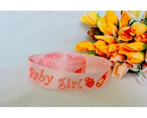 """Атласная лента """"Baby girl"""" 25мм, цв. розовый"""