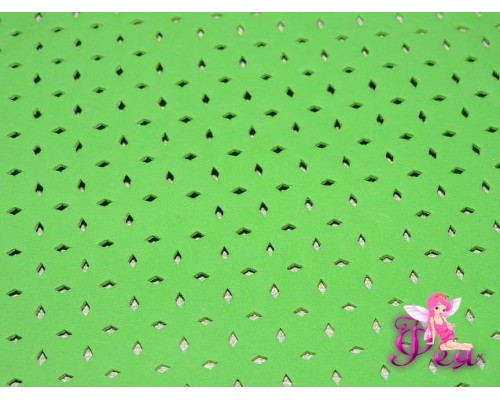 Фоамиран декоративный 2 мм (20*30 см), в дырочки, цв. салатовый  -1 лист