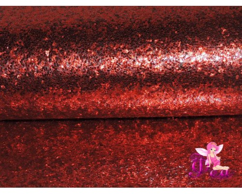 """Искусственная кожа """"Блестки-ламинация"""" 0.7 мм, цв. красный"""