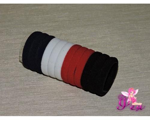 Бесшовные резинки для волос 4 см, цв. микс с красным, в тубе 12 шт