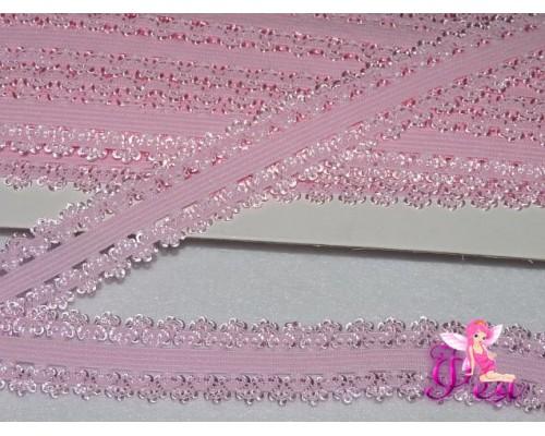 Тесьма-резинка скружевом 2 см, светло-розовый - 1м