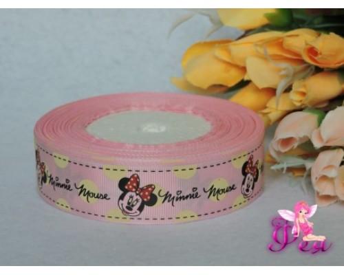 """Репсовая лента 25 мм (мультики, 3D)розового с рисунком """"Минни Мауз"""""""