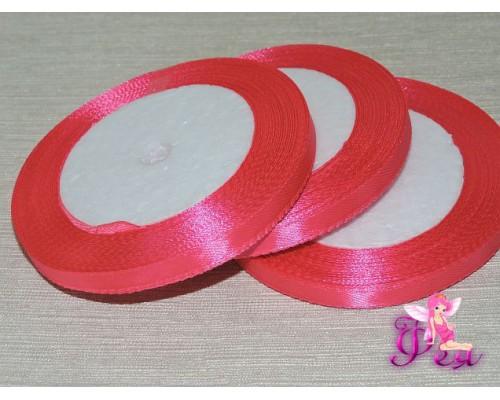Атласная лента 6 мм,  неоново-розового  цвета