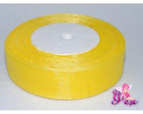 Лента органза 25 мм, цв.  желтый - 1м
