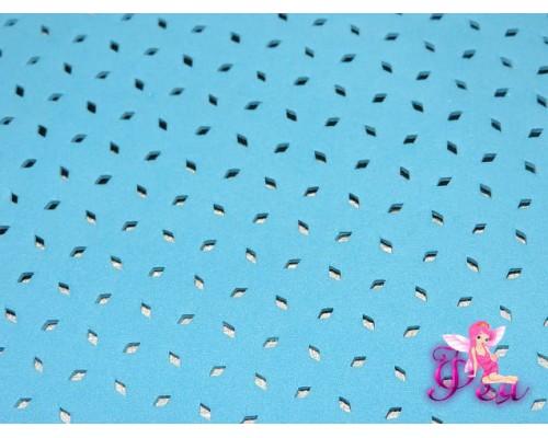 Фоамиран декоративный 2 мм (20*30 см), в дырочки, цв. голубой -1 лист