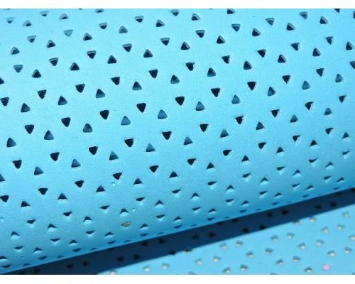 Фоамиран декоративный 2 мм (20*30 см), в дырочки, цв. голубой