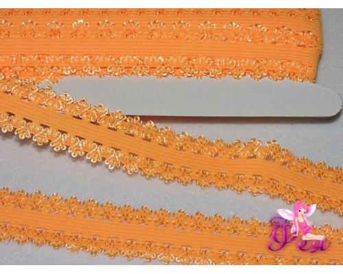 Тесьма-резинка с кружевом 2 см, светло-оранжевый