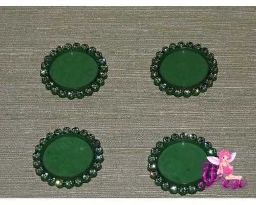 Крышечка-серединка со стразами 25 мм, цв. зеленый 1 шт