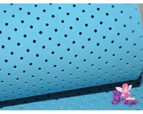 Фоамиран декоративный 2 мм (20*30 см), в дырочки-ромбики, цв. голубой -1 лист.