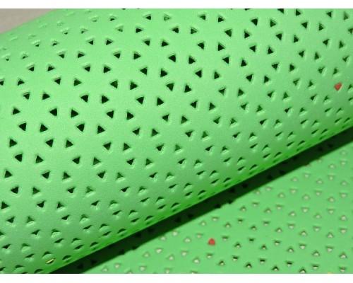 Фоамиран декоративный 2 мм (20*30 см),  в дырочки, цв. салатовый
