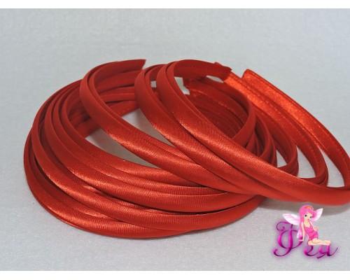 Ободок пластиковый в ткани 1 см, цв. красный