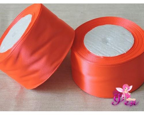 Однотонная атласная лента 50 мм, цв. неоновый-оранжевый - 1м