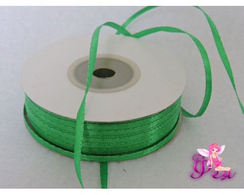 Лента атласная 3 мм, зеленый № 19 (отрез 5 м)