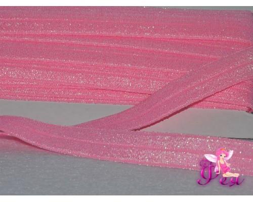 Тесьма эластичная с люрексом 15 мм, розовый -1 м