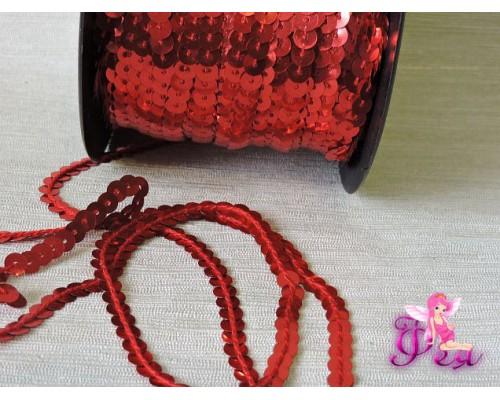 Пайетки на нитке 6мм, цв. красный - 1 м