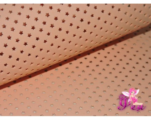 Фоамиран декоративный 2 мм (20*30 см), в  звездочки, цв.  персиковый- 1 лист