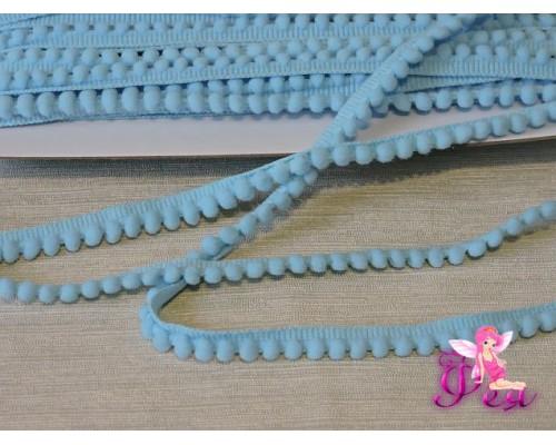 Тесьма с маленькими помпонами, цв. голубой №204 - 1 м
