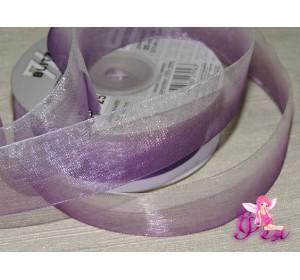 Органза двухцветная 25 мм, цв. бело-фиолетовый