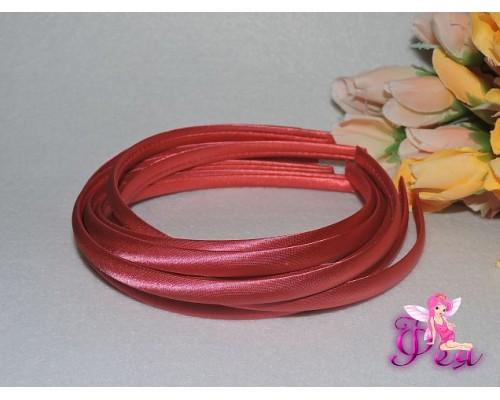 Ободок пластиковый в ткани 1 см, цв. розовый