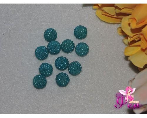 Бусины круглые декоративные 11 мм, голубой