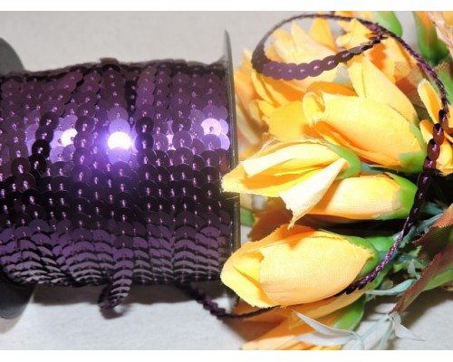 Пайетки на нитке 6мм, цв. фиолетовый 1 м