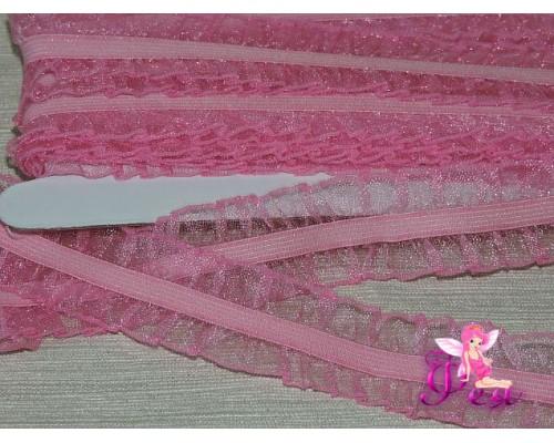 Тесьма с резинкой 25 мм, розовый - 1м
