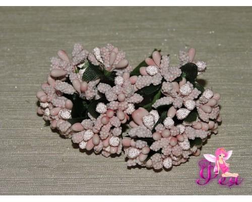 Букетик тычинок с сахарными вставками из 12 шт, цв. нежно-розовый