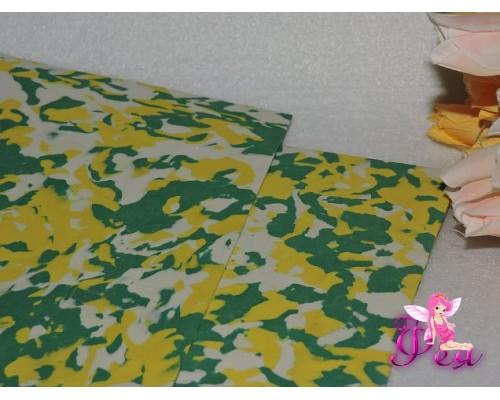 Фоамиран 2 мм, А 4 «Мраморный», цв. зелено-желто-белый