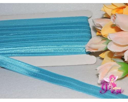 Тесьма эластичная 1,5 см, цв. голубой
