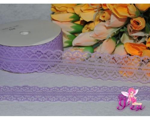 Кружево капрон 25мм светло-фиолетового цвета - 1м