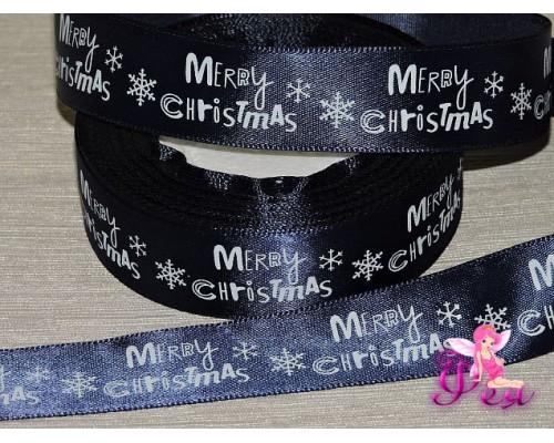 """Атласная лента с рисунком  25 мм темно-синего цвета с надписью """"Merry Cristmas"""""""