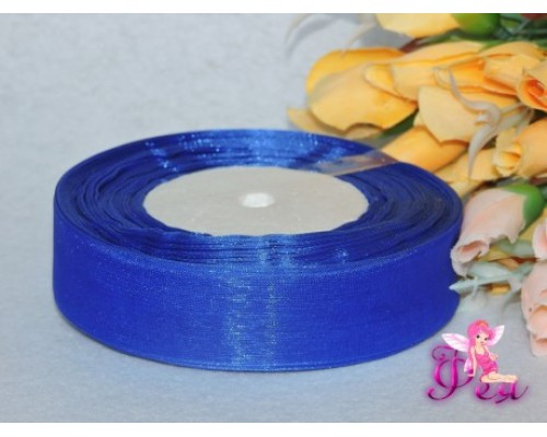 Органза однотонная 25мм, цв. синий - 1м
