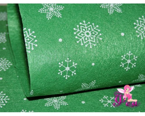 "Фетр жесткий  ""Снежинки"" 1 мм, зеленый (1 лист) формата А4"
